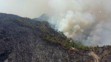 Marmaris'te orman yangınına havadan ve karadan müdahale sürüyor