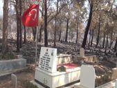 Mersin'deki yangında zarar gören mezarlıkta şehit kabri ve Türk bayrağı yanmadı