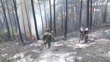 Azerbaycan'dan gelen ekip, yangına müdahaleye başladı