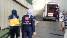 Bursa'da görev yaptığı ambulans alev alınca gözyaşlarına boğuldu