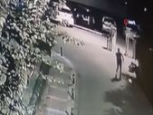 Üsküdar'da şahsın sokak kedisini yerden yere vurduğu anlar