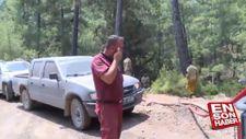 Alevlerin ortasında kalan orman işçisinin anonsu