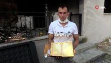 Antalya'da küle dönen evde bir tek Kur'an-ı Kerimler zarar görmedi