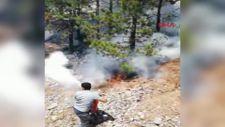 Makinistler treni durdurup, orman alanında yangını söndürdü