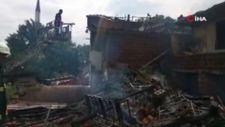 Tokat'ta saman balyalarındaki yangın evlere sıçradı