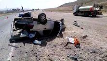 Bingöl'de kontrolden çıkan otomobil takla attı