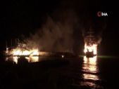 Antalya'nın Alanya ilçesindeki tur teknelerinde yangın