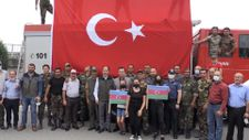 Azerbaycanlı itfaiye erlerine Trabzon'da karşılama