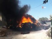 Balıkesir'de elektrik tellerine çarpan kamyonet yandı