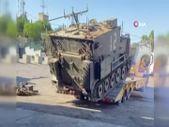 İsrail'de taşıyıcıya yüklenen zırhlı personel taşıyıcı devrildi