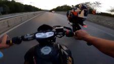 Şile yolunda motorculardan tehlikeli hareketler