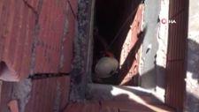 Isparta'da apartman boşluğuna düşen kedi halat sistemiyle kurtarıldı