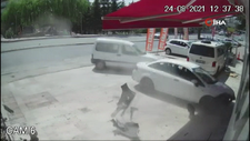 Ankara'da ani fren yapan sürücü dükkana daldı