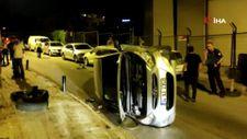 Beşiktaş'ta kontrolden çıkan otomobil devrildi