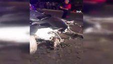 Denizli'de kaza yapan otomobilin motoru fırladı