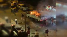 Beyoğlu'nda yanan araç paniği