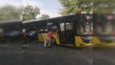 İETT otobüsü yolda askıda kaldı, vatandaşlar kurtarmak için seferber oldu