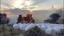 Burdur'da tır üzerindeki saman balyaları yandı
