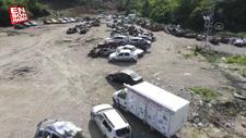 Kastamonu'da sel suları yüzlerce aracı hurda yığınına çevirdi