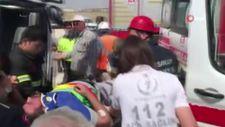 Aksaray'da kantarda devrilen beton mikserinin sürücüsü yaralandı
