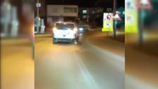Arnavutköy'de jantın üzerinde kıvılcımlar çıkararak ilerleyen araç