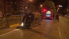 Isparta'da otomobil aşırı hız sonucu takla attı
