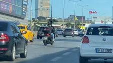 Ataşehir'de motosikletlinin trafikte tehlikeli şovu