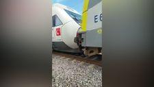 Tuzla'da duramayan tren, istasyonda bekleyen trene arkadan çarptı