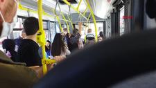 Sivas'ta halk otobüsü içerisinde maske kavgası