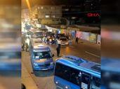 Ümraniye'de yolu kapatıp asker uğurlaması yapan grup