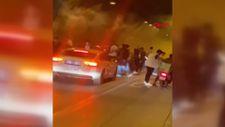 Asker uğurlayan magandalar Kağıthane Tüneli'ni trafiğe kapattı