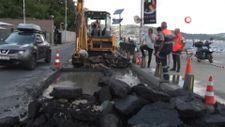 Sarıyer'de ana cadde çöktü, yol trafiğe kapatıldı