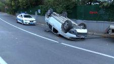 Sarıyer'de sürücü, aracını kaldırıma çarparak takla attı