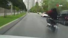 Ataşehir'de, tek teker üzerinde motosiklet yolculuğu