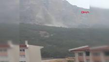 Karaman'da yağmur suları kalede şelale oluşturdu