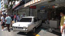 Antalya'da drift atan otomobil iş yerine daldı