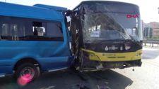 Ataşehir'de İETT otobüsü yolcu minibüsüne çarptı