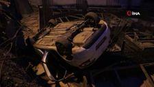 Kocaeli'de fren yerine gaza basan sürücü, otomobil ile inşaata düştü