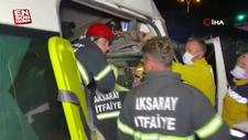 Aksaray'da işçi minibüsü devrildi: 17 yaralı