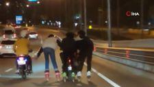 Antalya'da trafikte tehlike dolu anlar