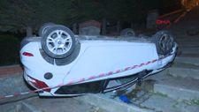 Ümraniye'de merdivenli sokağa giren sürücü, otomobiliyle takla attı