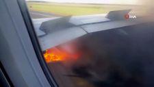 ABD'de kalkışa hazırlanan uçağın motoru alev aldı