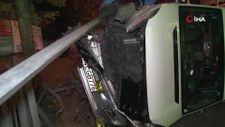 Güngören'de kaza: Tramvay yoluna devrildi