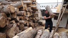 Konya'da tomruk taşıyarak Bilek Güreşi Dünya Şampiyonası'na hazırlanıyor