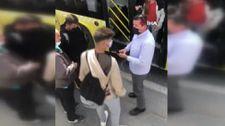 Avcılar'da otobüs kapısına çantası sıkışan genç camı kırdı