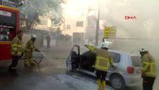 Kırıkkale'de hareket halindeki otomobil yandı