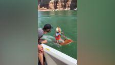 Su kayağı yapan sevimli ufaklık