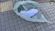 Belediye binası önüne beze sarılı ölü köpek bırakarak İBB'yi protesto etti