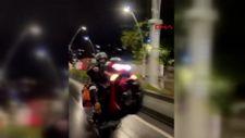Esenler'de motosikleti tek teker kullandı