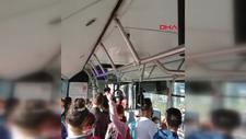 Antalya'da otobüste sosyal mesafe tepkisi